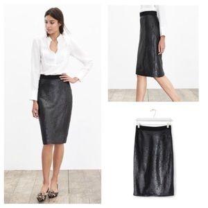 Banana Republic Black Matte Sequin Pencil Skirt